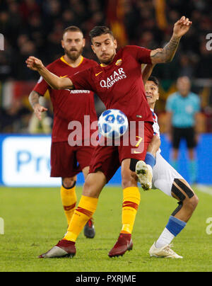 Rome, Italy, 23rd October, 2018. Roma's Lorenzo Pellegrini, left, is challenged by CSKA Moscow's Ilzat Akhmetov during the Champions League Group G soccer match between Roma and CSKA Moscow at the Olympic Stadium. Roma won 3-0. © Riccardo De Luca UPDATE IMAGES/ Alamy Live News - Stock Photo