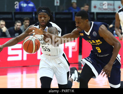 Kendrick Perry (BCNN) and Charlon Kloof (UCAM) seen in action during the game. Basketball Champions League: BC Nizhny Novgorod (BCNN) from Russia vs Ucam Murcia Club Baloncesto (UCAM) from Spain. The game ended with the score 51: 72.