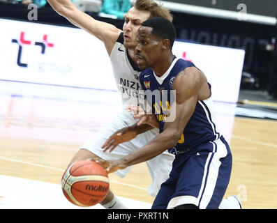 Artem Komolov (BCNN) and Charlon Kloof (UCAM) seen in action during the game. Basketball Champions League: BC Nizhny Novgorod (BCNN) from Russia vs Ucam Murcia Club Baloncesto (UCAM) from Spain. The game ended with the score 51: 72.