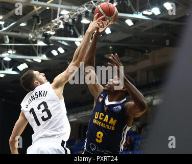 Dmitrii Uzinskii (BCNN) and Charlon Kloof (UCAM) seen in action during the game. Basketball Champions League: BC Nizhny Novgorod (BCNN) from Russia vs Ucam Murcia Club Baloncesto (UCAM) from Spain. The game ended with the score 51: 72.