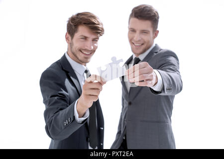 businessman people assembling jigsaw puzzle, team support and he - Stock Photo