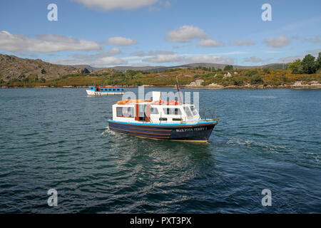 Two small passenger ferries in Ireland  - the nearest, Blue Pool I is reversing out from Garnish Island and heading to Glengarriff in County Cork, - Stock Photo
