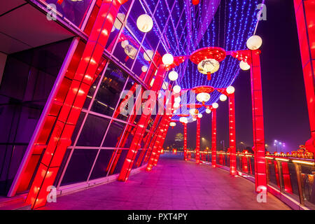Modern architecture glass curtain wall and Chinese lanterns - Stock Photo