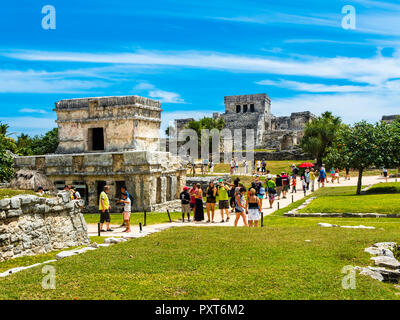 Mayan ruins, Tulum, Quintana Roo, Riviera Maya, Yucatan Peninsula, Mexico - Stock Photo