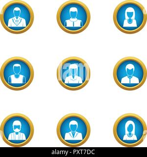 Representative icons set, flat style - Stock Photo