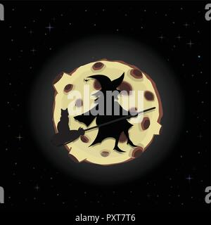 Black silhouette of old scary witch on broom with cat flying on night sky background with full yellow moon and sparkling stars. Halloween vector carto - Stock Photo