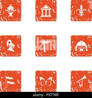 Global history icons set, grunge style - Stock Photo