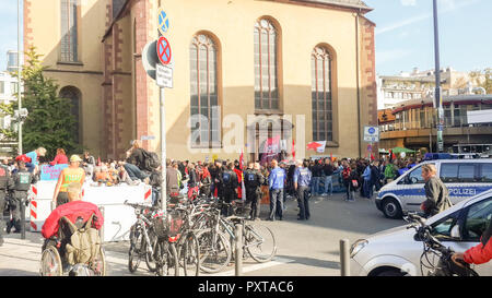 Frankfurt, Germany - Oct 20,2018: Many polices are watching on  mass of crowd near Hauptwache. Mob, congregate. - Stock Photo