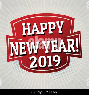 Happy new year 2019 label or sticker on grey background, vector illustration - Stock Photo