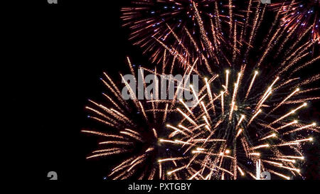 Buntes Feuerwerk am Nachthimmel, Colorful fireworks in the night sky, Fireworks, Pyrotechnics, firecrackers, Colorful, Colourful, Sylvester, New Year, - Stock Photo