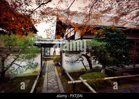 Inner courtyard garden at Daitoku-ji, Zen Buddhist temple in Kyoto, Japan - Stock Photo