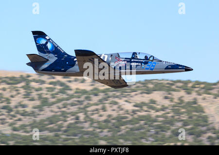 Scott Farnsworth pilots 'Dash Force One,' an Aero Vodochody L-39 Albatross down the Valley of Speed during a Jet Class Heat Race as part of the 2018 R