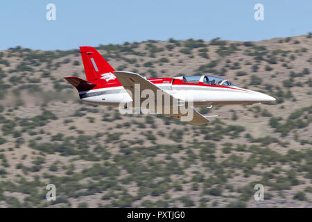Bob McCormack pilots 'Athena,' an Aero Vodochody L-39 Albatross down the Valley of Speed during a Jet Class Heat Race as part of the 2018 Reno Nationa