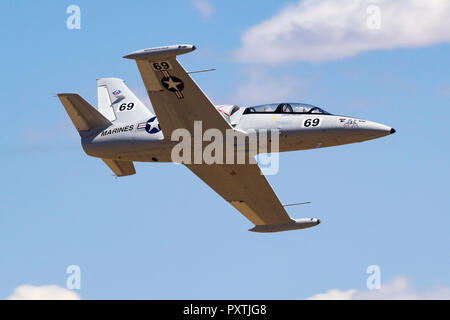 Lachie Onslow from Australia pilots 'Drop Bear' an Aero Vodochody L-39 Albatross down the Valley of Speed during a Jet Class Heat Race as part of the