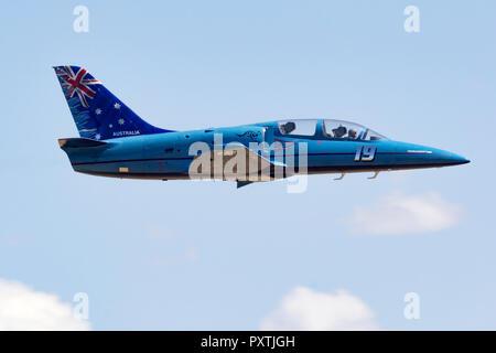 Charlie Camilleri  from Bathurst, Australia pilots 'Blue Ice' an Aero Vodochody L-39 Albatross down the Valley of Speed during a Jet Class Heat Race a