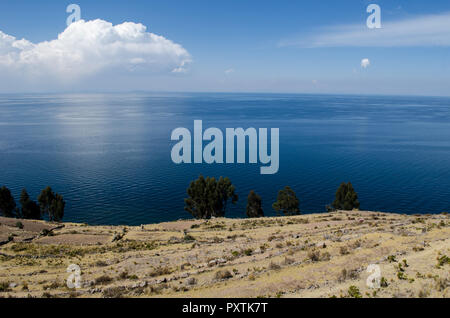 Titicaca Lake as seen from Taquile Island in Peru - Stock Photo