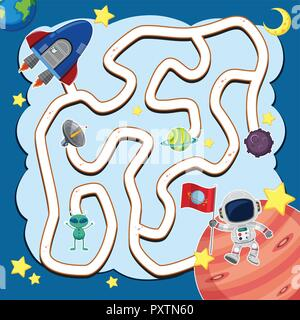 Maze game template with spaceship in space illustration - Stock Photo
