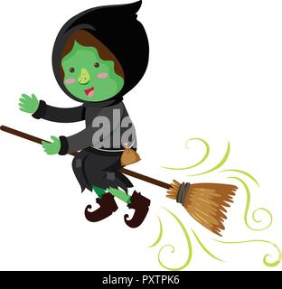 Green witch flying on magic broom illustration - Stock Photo
