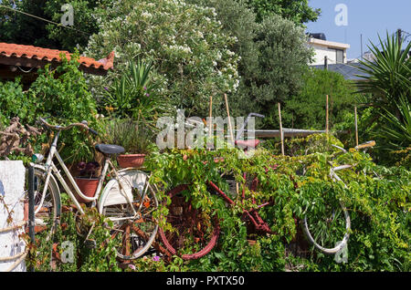 Old-fashioned retro bikes decorating the green garden in Heraklion (Greece) - Stock Photo