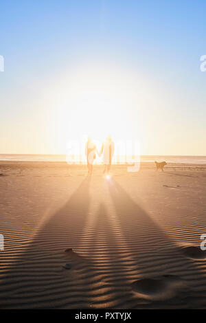 Portugal, Algarve, couple with dog walking on the beach at sunset - Stock Photo