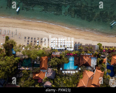 Indonesia, Bali, Aerial view of Sanur beach - Stock Photo