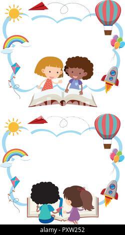border template with kids reading illustration stock vector art