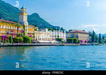 Italy, Lombardy, Gardone Riviera, Lake Garda, Grandhotel - Stock Photo