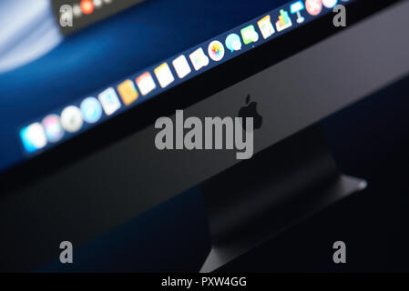 New york, USA - october 23, 2018: Imac on new macOS Mojave close up view - Stock Photo