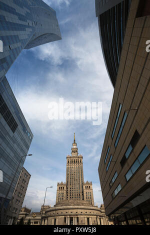 Poland, Warsaw, view to Palace of Culture and Science - Stock Photo