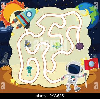 Puzzle game template with astronaut in space illustration - Stock Photo