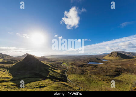 UK, Scotland, Inner Hebrides, Isle of Skye, Trotternish, view from Quiraing towards Staffin Bay - Stock Photo