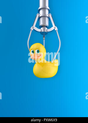 3D rendering, Yellow rubber duck hovering in front of blue background - Stock Photo