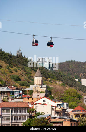 Georgia, Tbilisi, Cable car over old town - Stock Photo