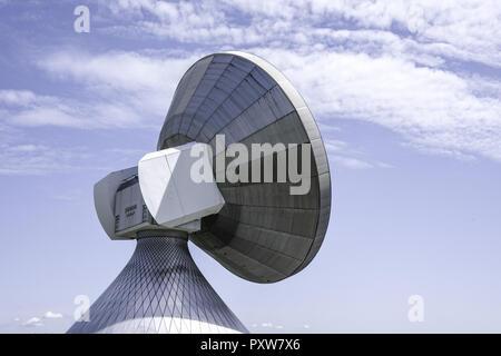 Satellitenschüssel, Erdfunkstelle Raisting, Bodenstation, Satellitenkommunikation, Oberbayern, Deutschland, Europa, Satellite dish, Raisting Satellite - Stock Photo