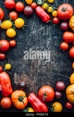 Different sorts of tomatos on woodden background, copy space - Stock Photo