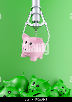 3D rendering, Pink piggy bank hovering over pile of discarded pigs - Stock Photo