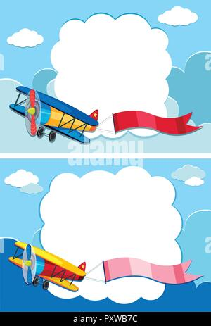 Two border templates with airplane in the sky illustration - Stock Photo
