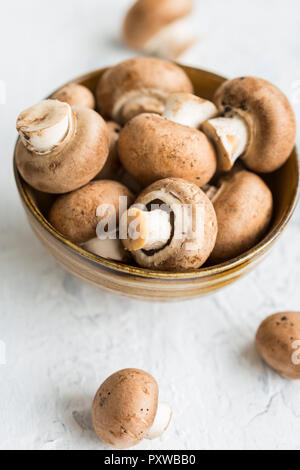 Bowl of Crimini Mushrooms - Stock Photo