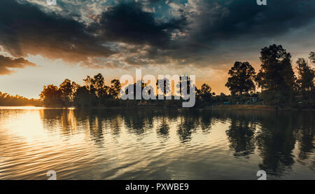 Orange sky on the horizon at sunset when the sun hides behind the eucalyptus trees with the cloudy sky - Stock Photo