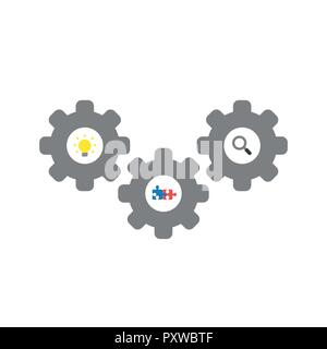 Vector illustration icon concept of gears with light bulb, connected puzzle pieces and magnifying glass. - Stock Photo