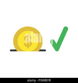 Vector illustration icon concept of dollar coin into moneybox hole with check mark. - Stock Photo