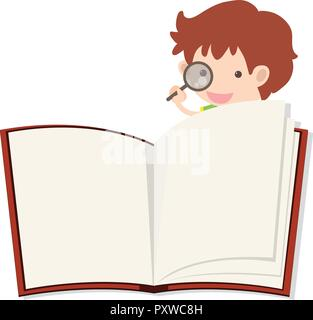Blank notebook and boy with magnifying glass illustration
