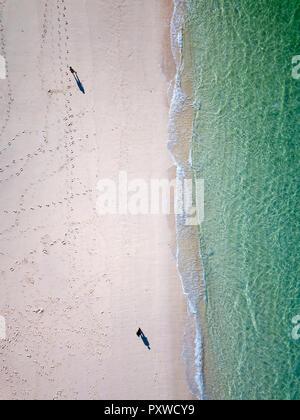 Indonesia, Bali, Aerial view of Karma beach, beach strollers - Stock Photo