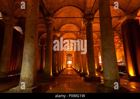 Istanbul, Turkey - August 15, 2018: Illuminated columns of the Basilica Cistern on  August 15, 2018, in Istanbul, Turkey. - Stock Photo