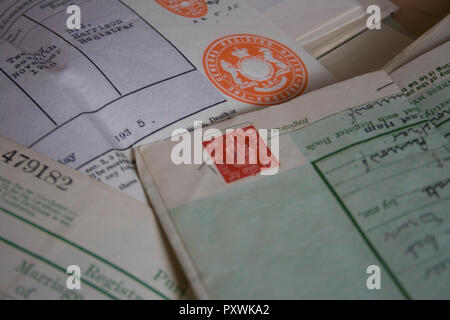 25/10/2018 A collection of old vintage family documents - Stock Photo