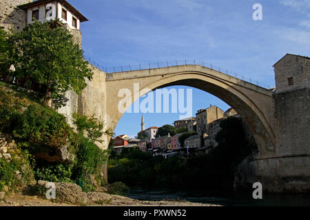 The rebuilt bridge over the river Neretva - Stari Most - in Mostar, Bosnia and Herzegovina - Stock Photo