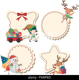 Four labels with christmas theme illustration - Stock Photo
