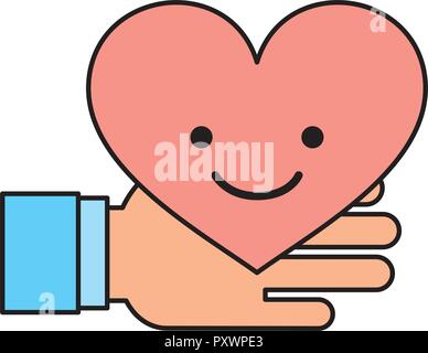 hand holding kawaii heart charity and donate vector illustration - Stock Photo