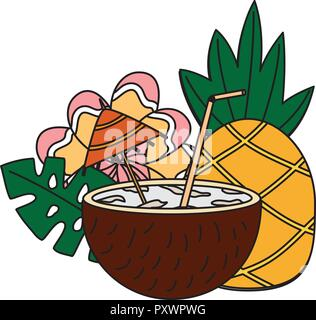 coconut cocktail pineapple flower tropical summer vector illustration - Stock Photo