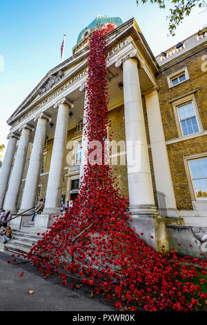 Weeping Window Poppies art installation at Imperial War Museum Lambeth, London, UK. Great War Remembrance centenary memorial 14-18 now - Stock Photo
